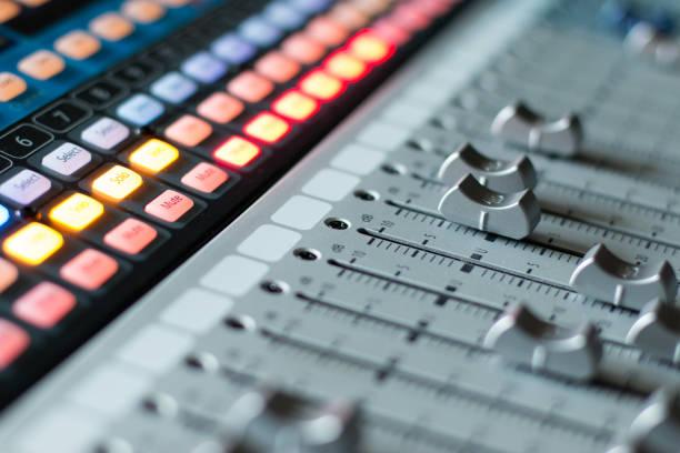 Sound recording studio mixer desk: professional music production stock photo