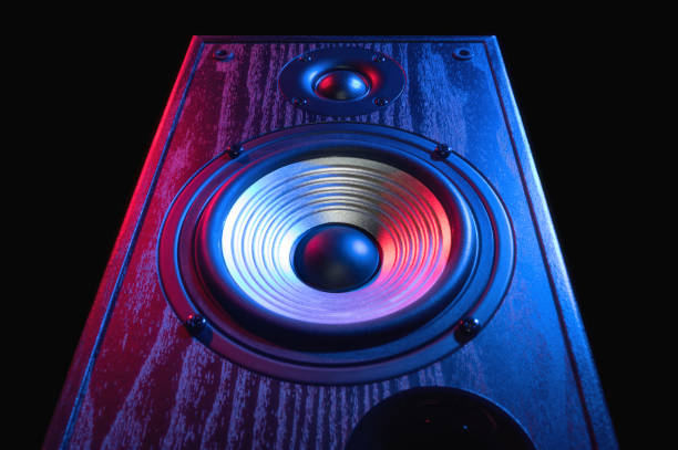 Sound speaker in neon light stock photo