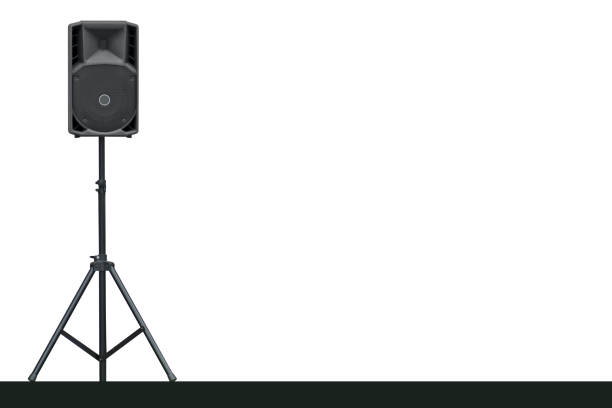 sound speaker on a tripod - loudon stock photos and pictures