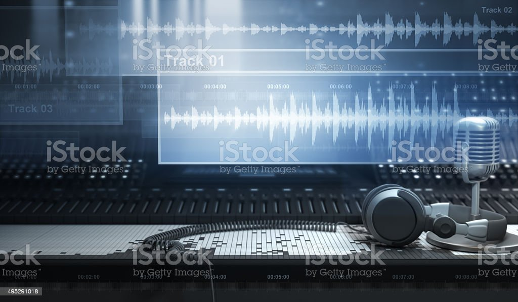 Sound Studio and Tracks Sound Studio and Audio Tracks 2015 Stock Photo