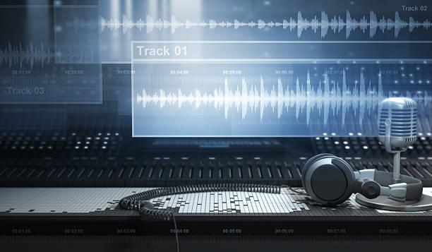 Sound Studio and Tracks stock photo