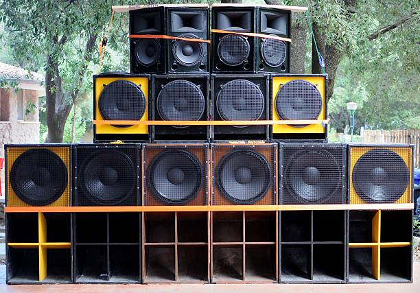 Soundsystem A big sondsystem for reggae music stereo stock pictures, royalty-free photos & images