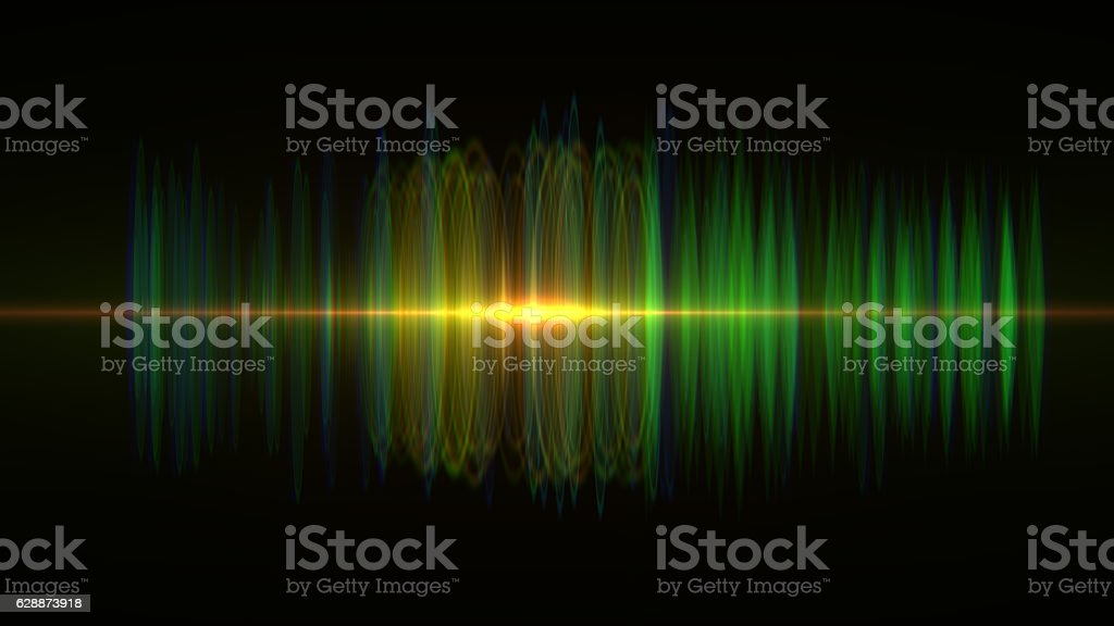 Sound wave. Digital oscilloscope and graphic equalizer stock photo