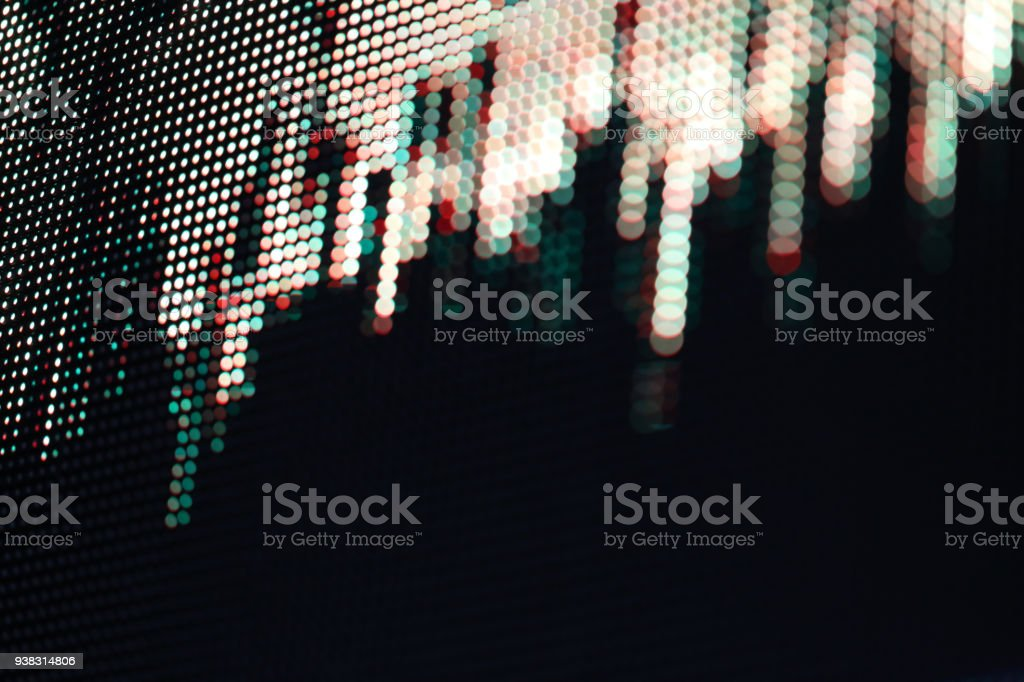 Sound wave pattern LED dots in array in display planel stock photo