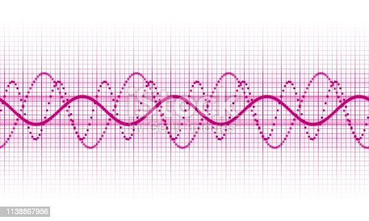 a pink sound wave on white background