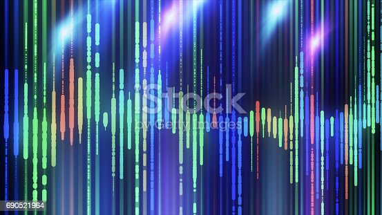 istock Sound waves colorful light audio signal design. 690521964