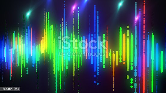 istock Sound waves colorful light audio signal design. 690521984