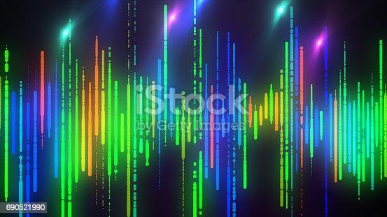 istock Sound waves colorful light audio signal design. 690521990