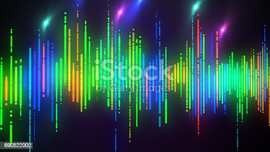 istock Sound waves colorful light audio signal design. 690522002