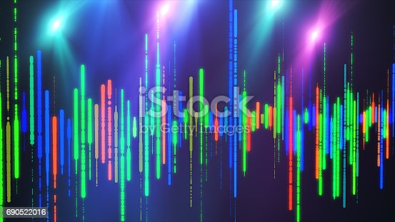 Sound waves colorful light audio signal design.