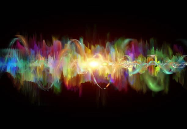 聲波在顏色,抽象的現代背景 - 聲波 個照片及圖片檔