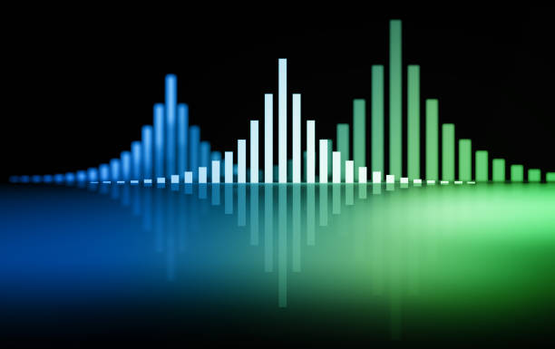 Sound waves in green blue color stock photo