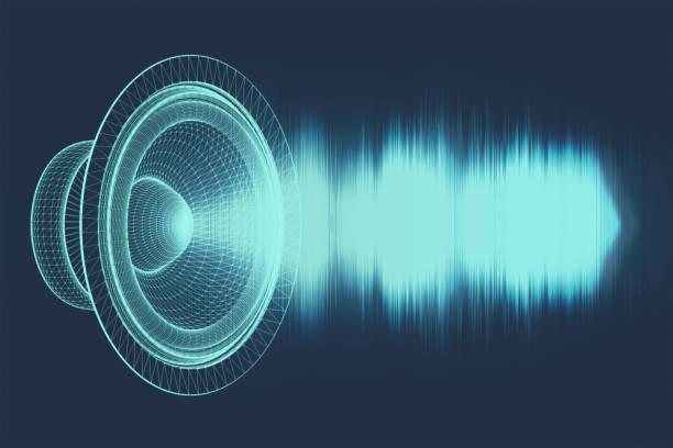 ljudvågor oscillerande glöd ljus, abstrakt teknik backgroud. 3d-illustration. - audioutrustning bildbanksfoton och bilder