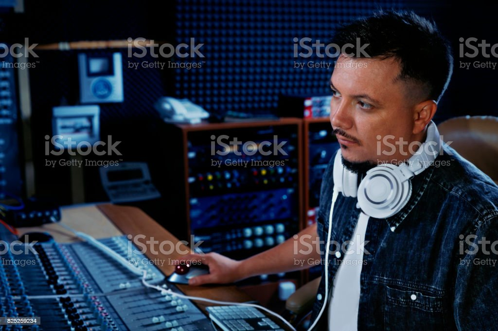 Soundman at his studio stock photo