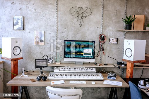 Modern music studio with sound  equipment, computer, no people
