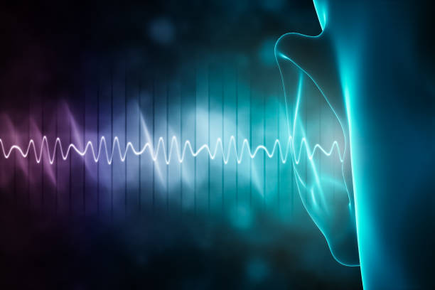 soundwave and equalizer bars with human ear. 3d rendering illustration with copy space. Sense of hearing, sound and music graphic concepts. stock photo