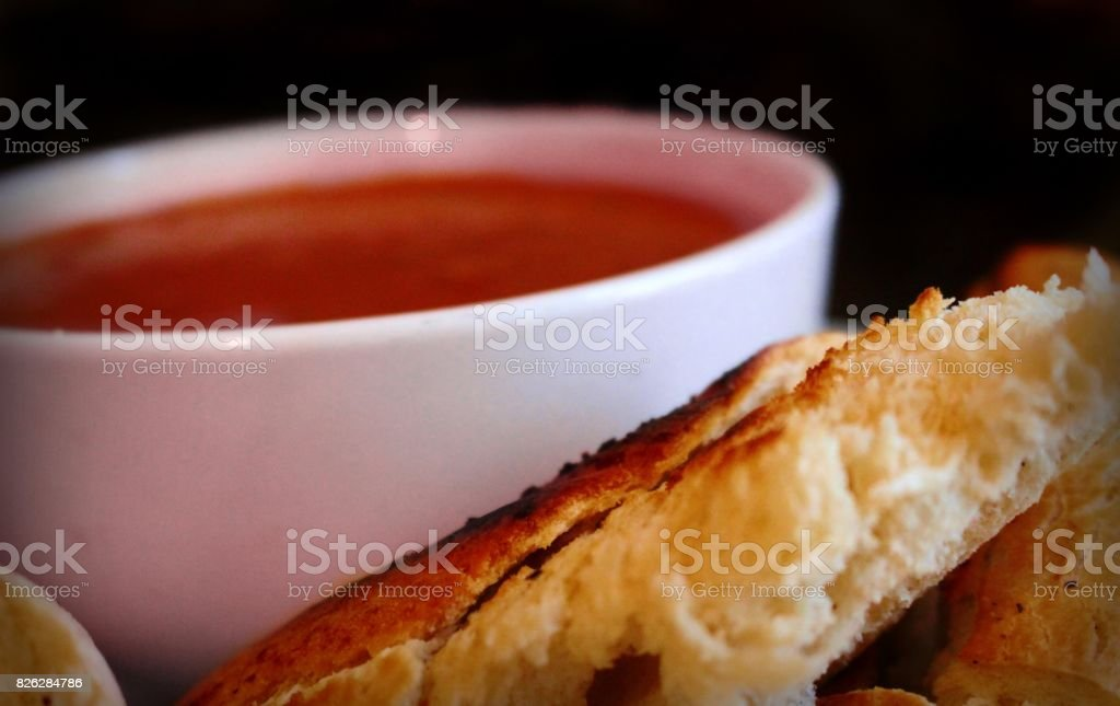 Soup and crusty bread stock photo