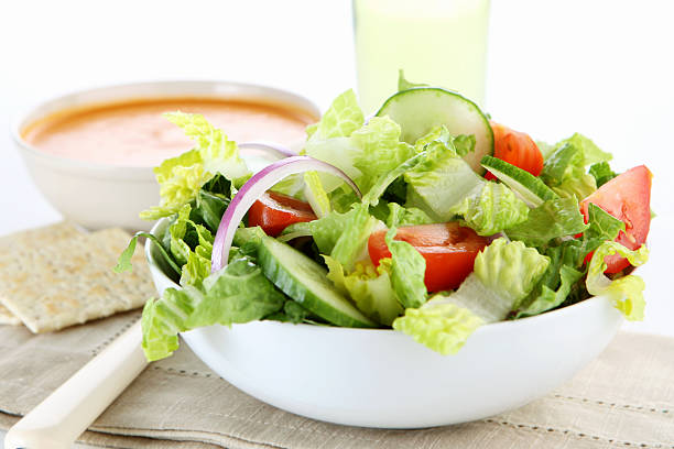 soup and salad stock photo