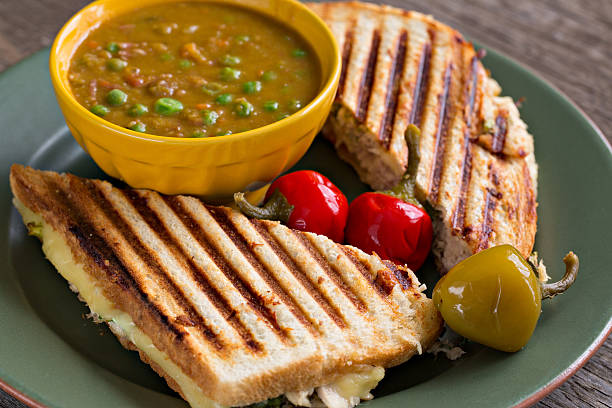 soup and sandwich - pimento cheese stock photos and pictures