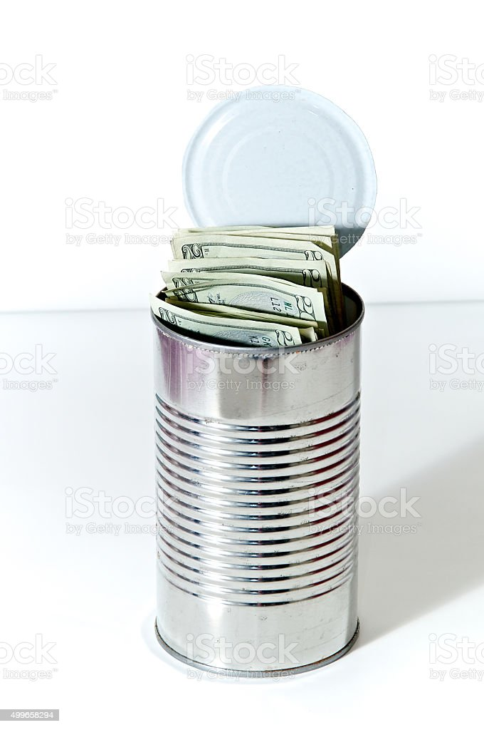 soup can full of money stock photo