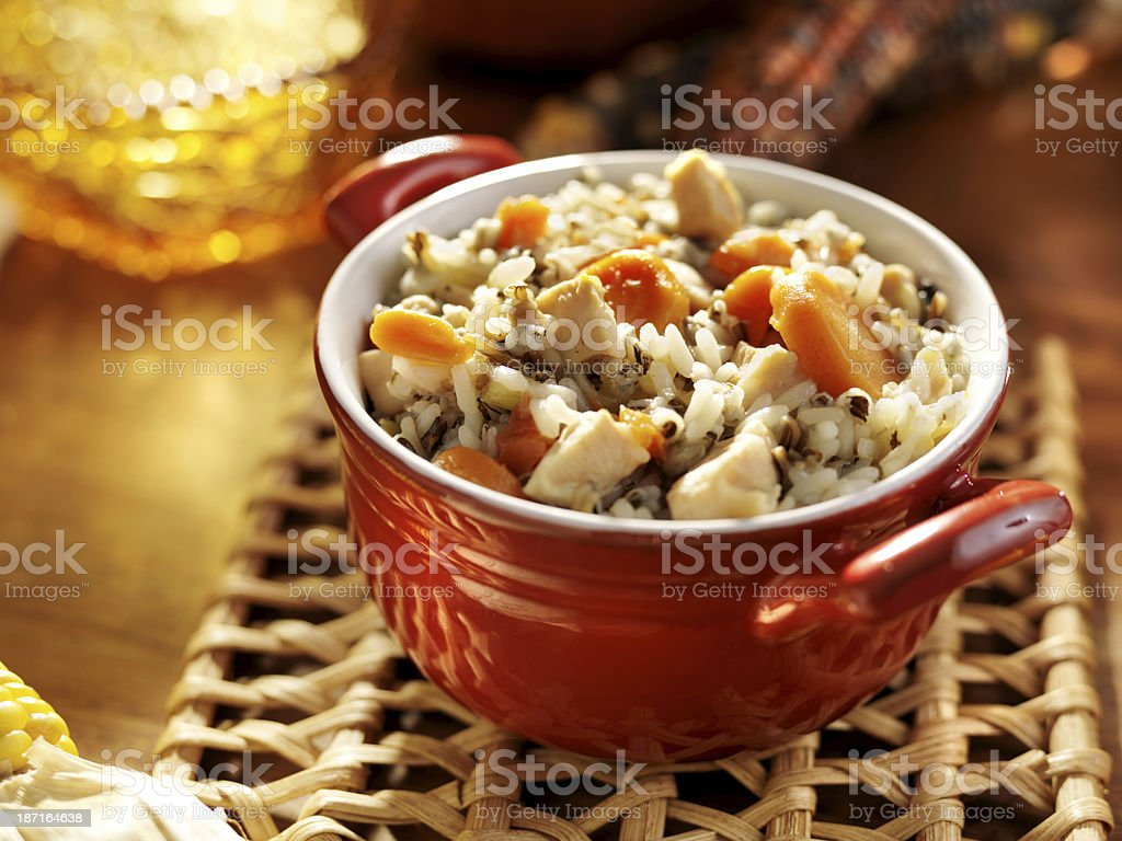 Soup- Chicken and wild rice with carrots stock photo