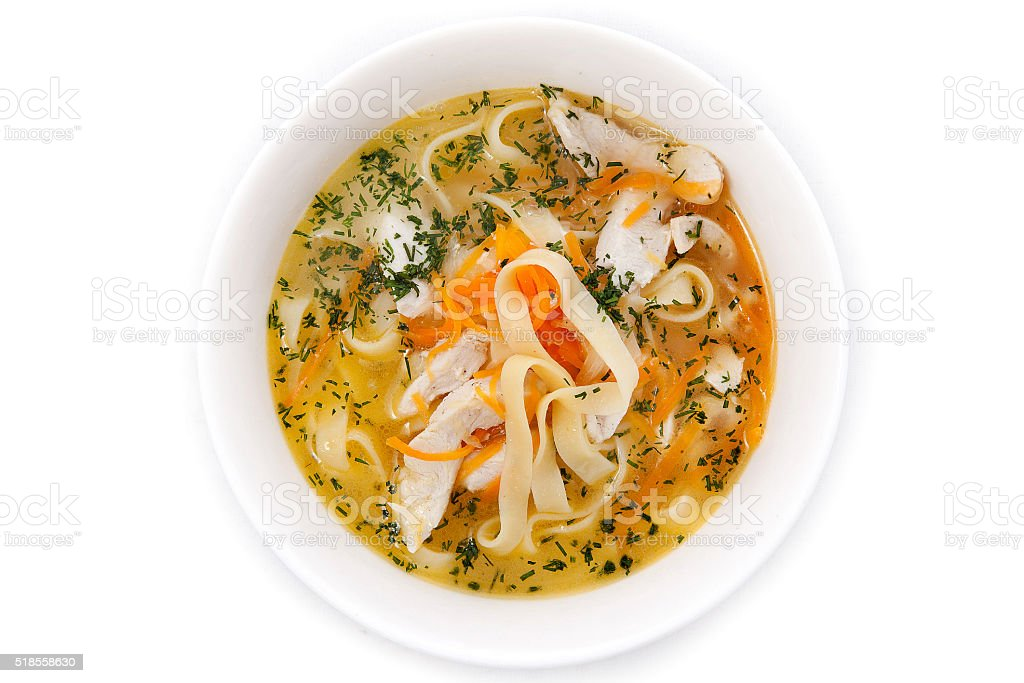 Soup: chicken noodle stock photo