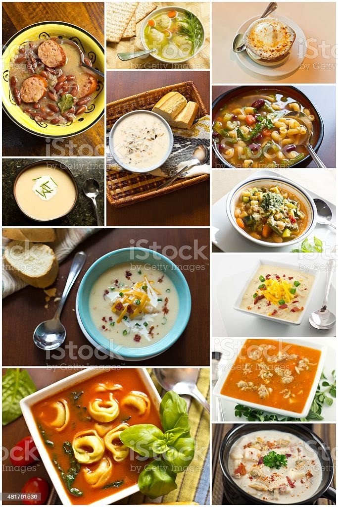 Soup Collage stock photo