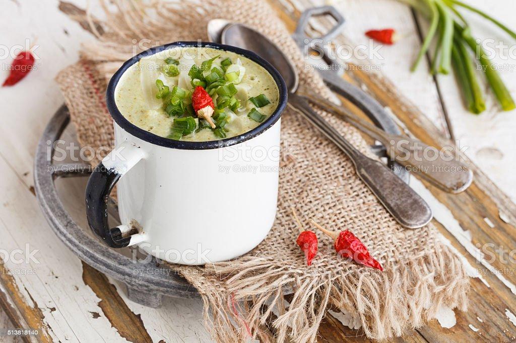 Soup cream of broccoli stock photo