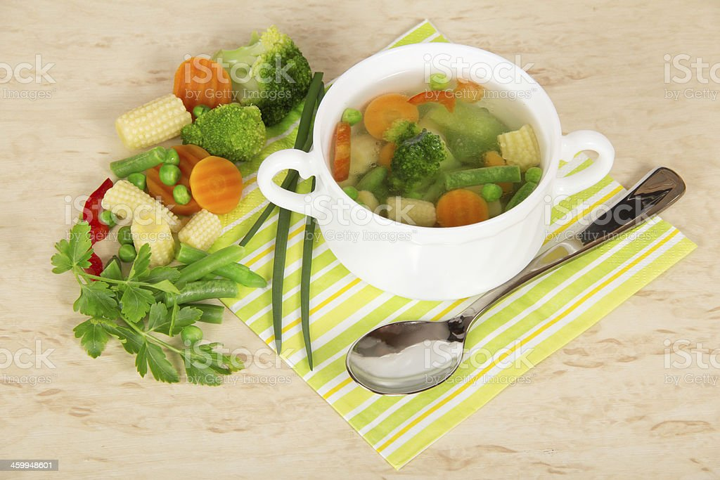 Soup in a cup and ingredients royalty-free stock photo