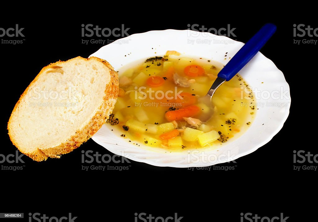 Soup in a white plate royalty-free stock photo