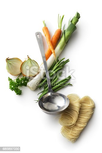Soup: Ingredients for Vegetable Soup Isolated on White Background