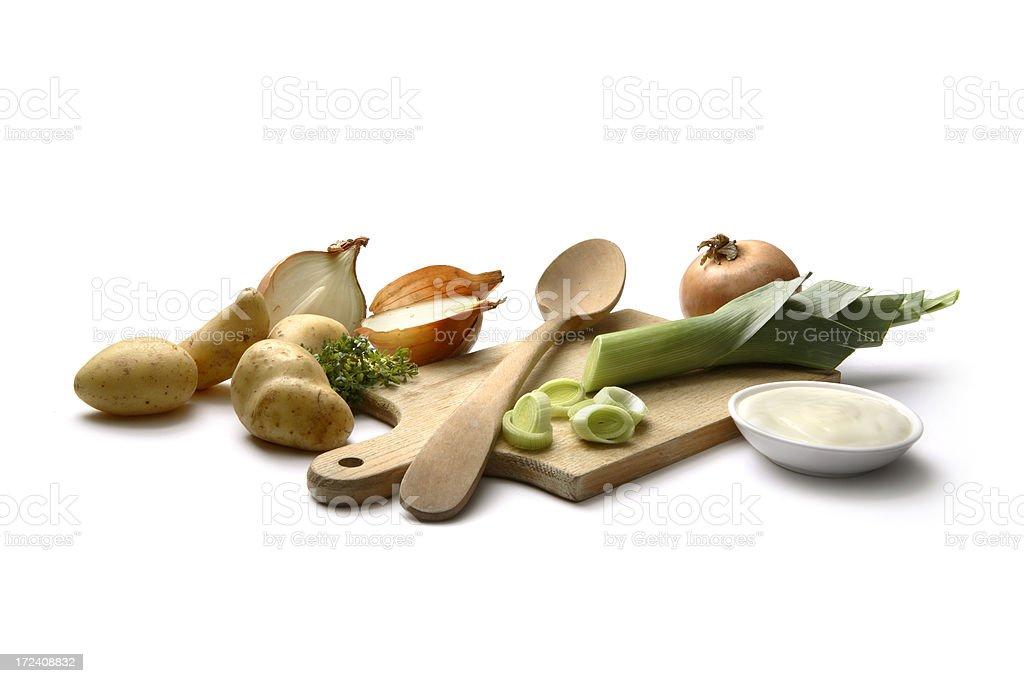 Soup Ingredients: Leek and Potato - Vichyssoise royalty-free stock photo