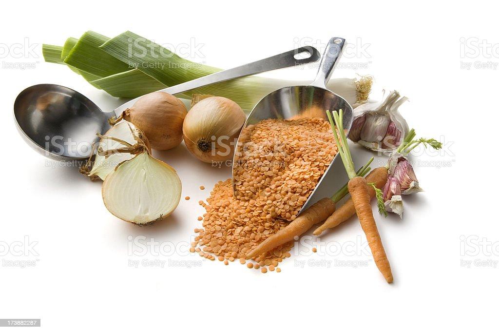Soup Ingredients: Lentil Soup stock photo