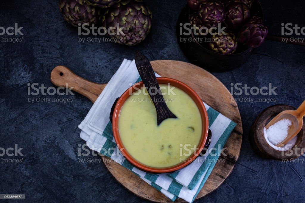 Soup of artichokes royalty-free stock photo