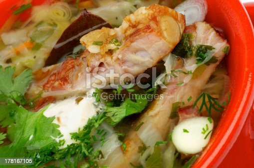 Vegetable Soup with Cabbage, Leek, Carrot, Garlic Greens, Smoked Pork Ribs and Sour Cream closeup in Red Bowl
