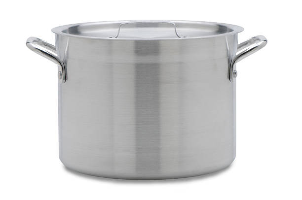 soup pot with clipping path - kookgerei stockfoto's en -beelden