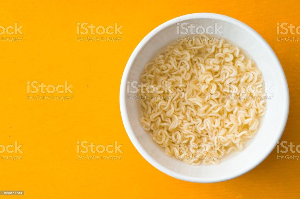Soup Ramen noodles in ceramic bowl stock photo
