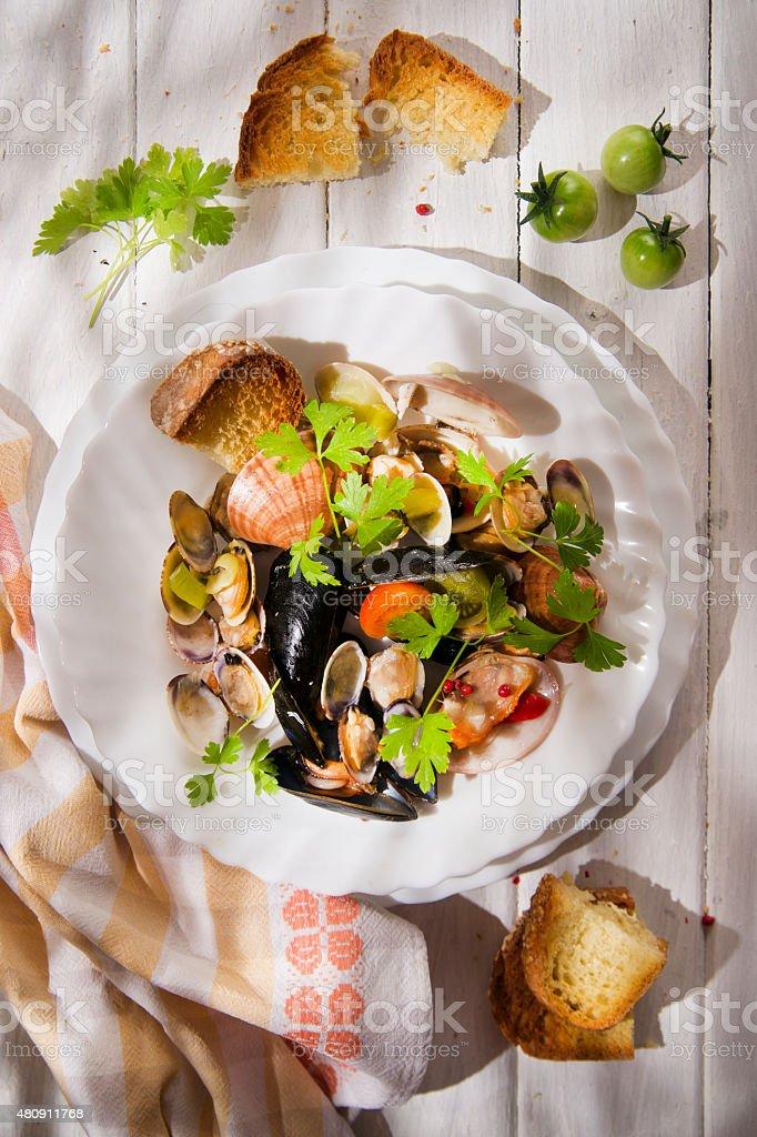 Soup seafood stock photo