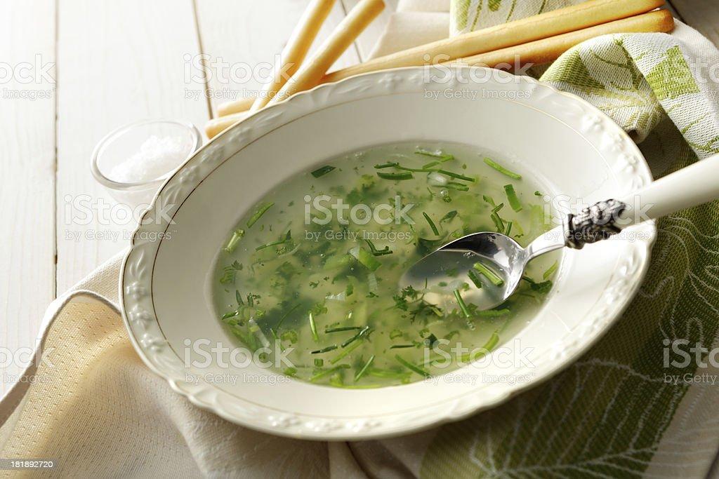 Soup Stills: Herb Broth royalty-free stock photo