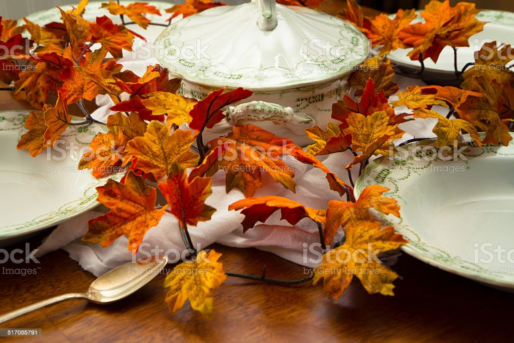 Soup Tureen and Bowls On A Table stock photo