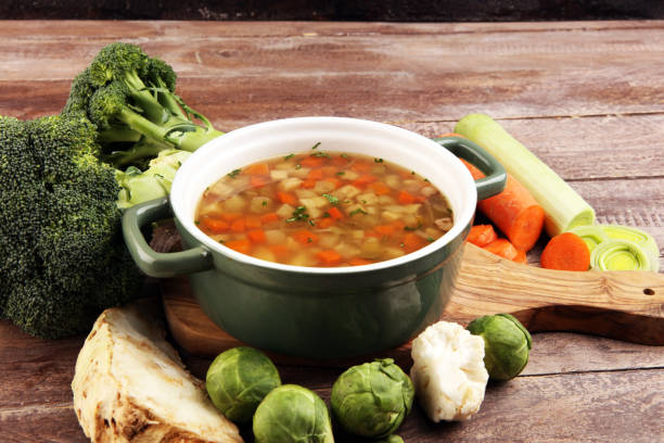 Soup, Vegetable Soup, Bowl. Traditional hot veggie soup Soup, Vegetable Soup, Bowl. Traditional hot soup vegetable soup stock pictures, royalty-free photos & images