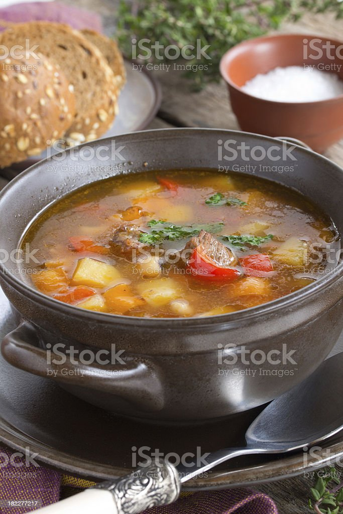 Soup with beans and vegetables. stock photo