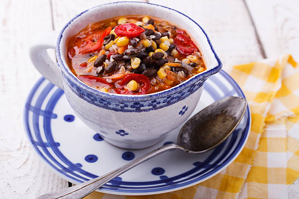 Soup with black beans,buckwheat stock photo