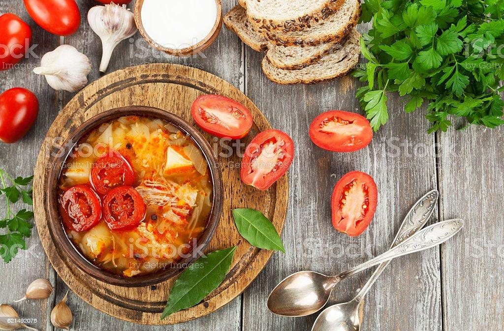 Soupe de chou et de viande photo libre de droits