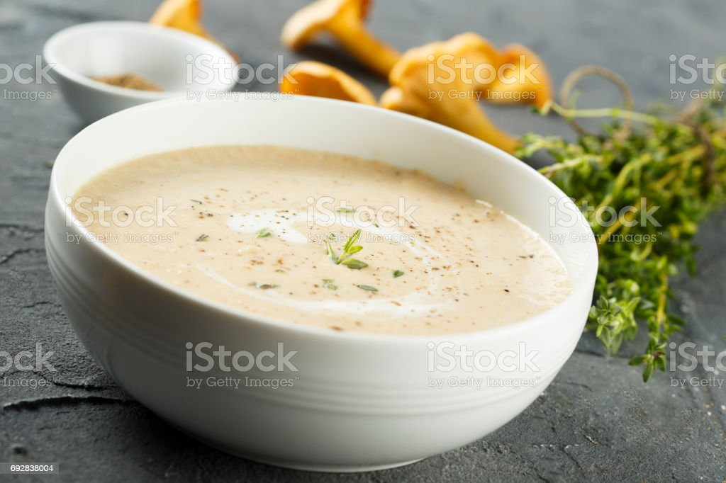 Soup with chanterelle stock photo
