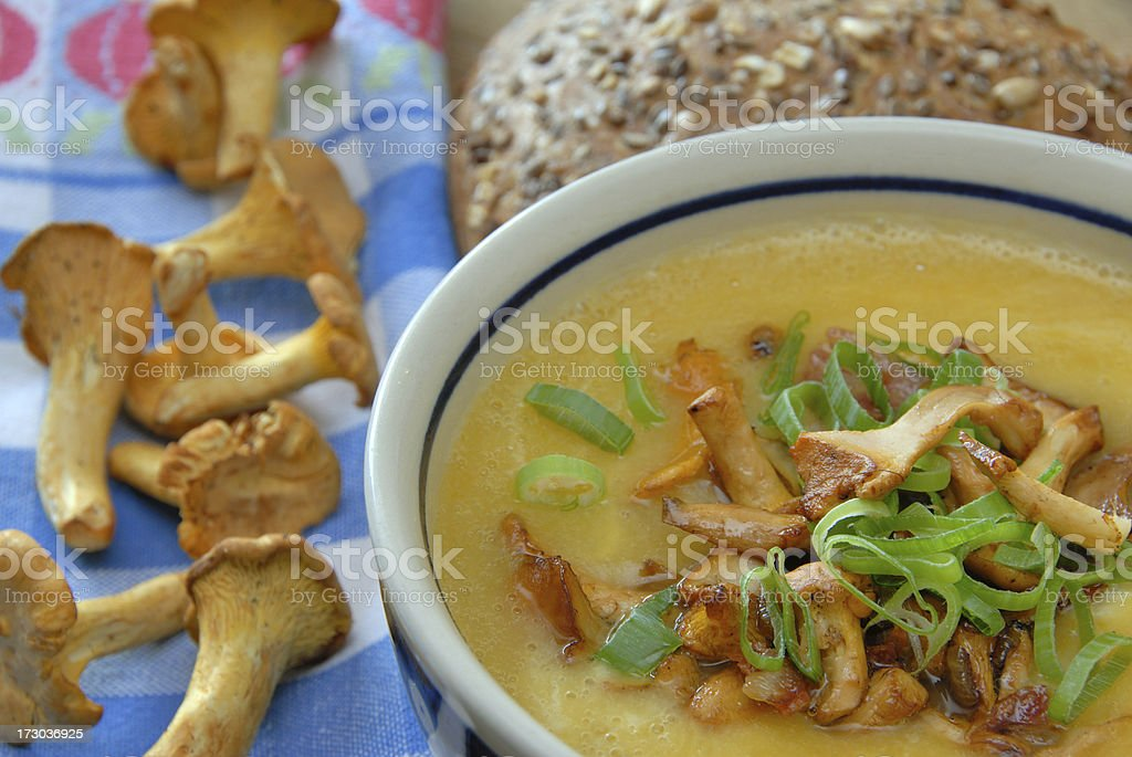 soup with chanterelles royalty-free stock photo