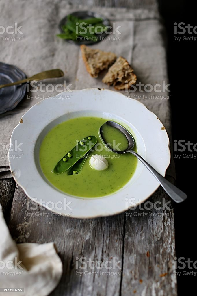 soup with green peas stock photo