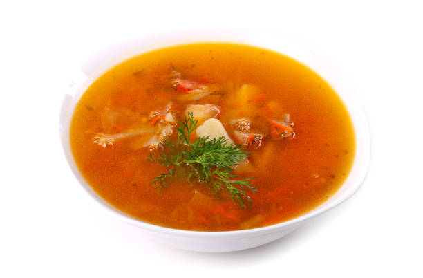 Soup with meat and potato stock photo