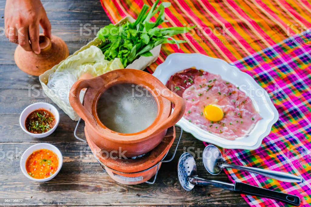 Soup with Pork Pot Hot Pot thai style royalty-free stock photo