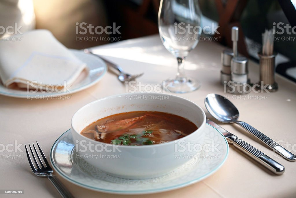 soup with scampi stock photo